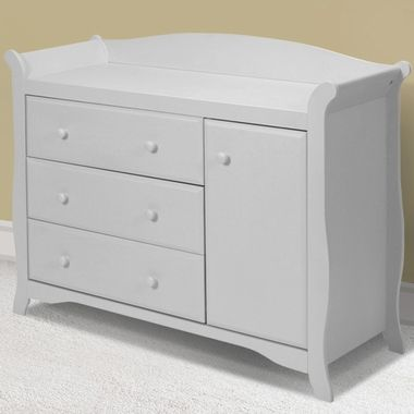 Storkcraft Aspen Sleigh Combo Dresser Changer In White Click To Enlarge White Changing Table Dresser Changing Table Dresser White Changing Table
