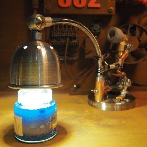 CustomOrder Handmade Robot Lamp Steampunk Candle Warmer Elbowman6 Yellow  LEDu2026