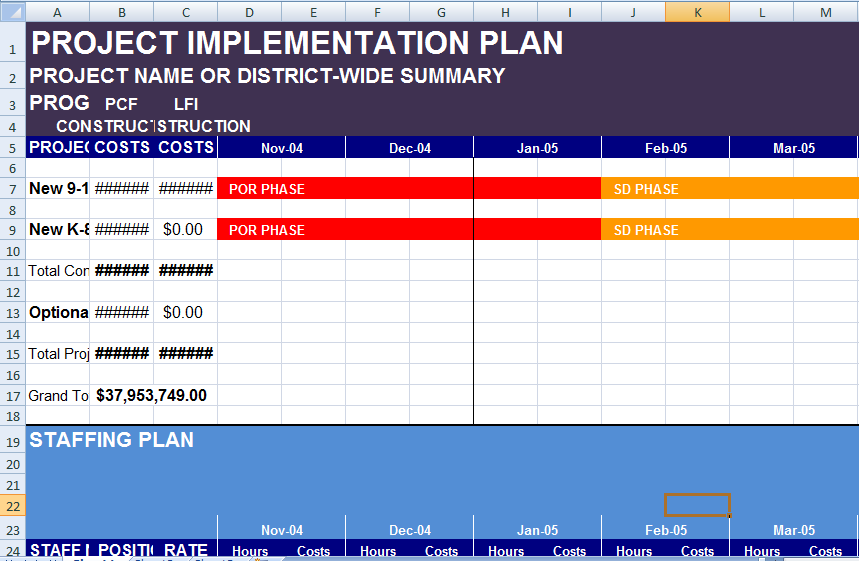 software implementation plan template excel