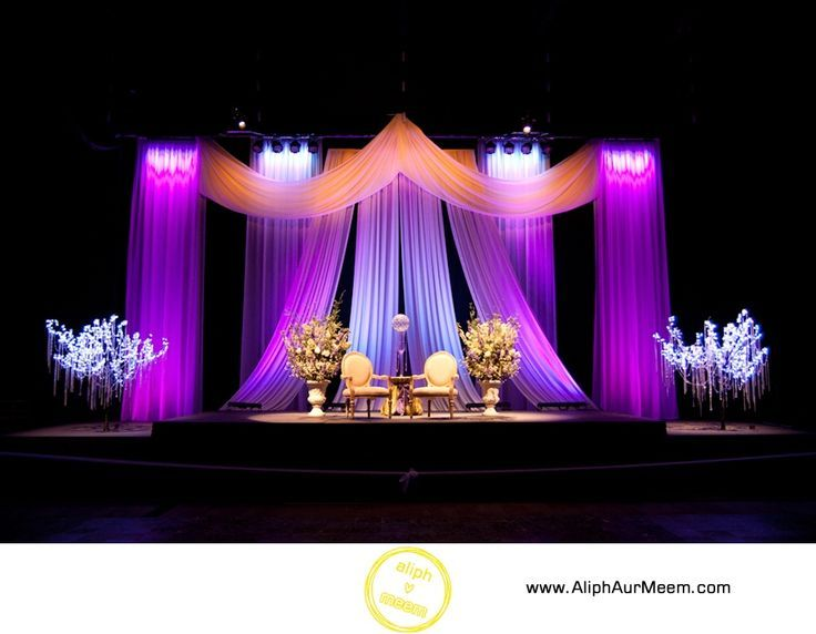 Fuschia And Purple Wedding Stage Draping