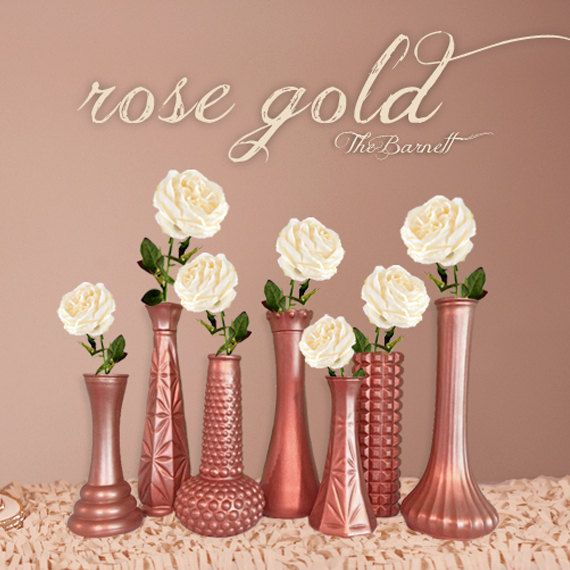 Rose Gold Vases Wedding Decor Set Of 12 Ombre Glitter Dipped And Painted Vase Table