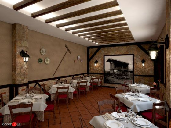 Detalle techo paredes decoraci n y pintura pinterest for Decoracion de restaurantes rusticos