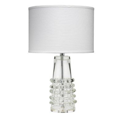 Jamie Young Company Ribbon Tall 24 Table Lamp Table Lamp Clear Glass Table Lamp Drum Shade