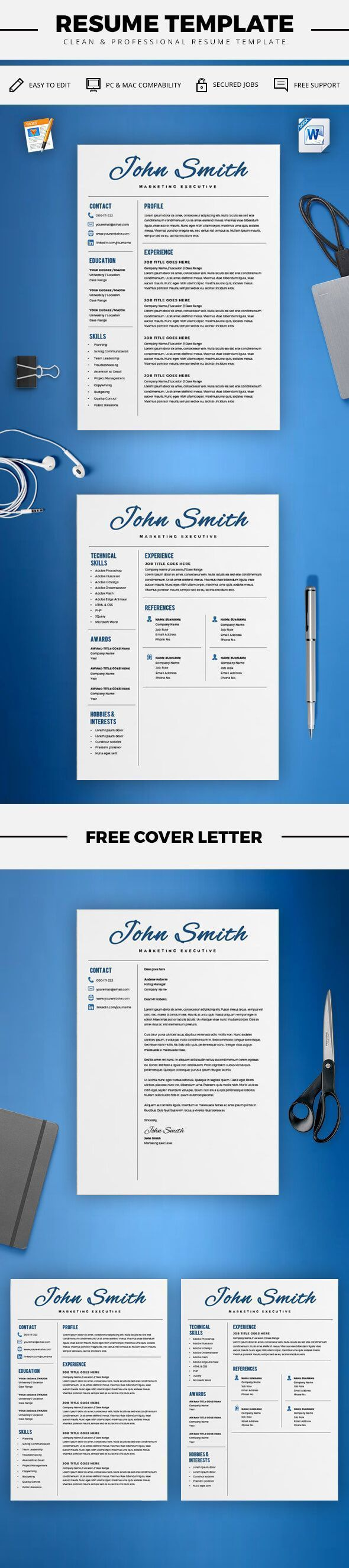 Creative Resume Template - CV Template + Cover Letter - Word and ...