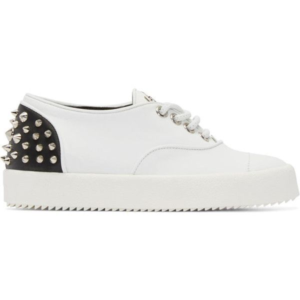 Giuseppe Zanotti White Spiked London Sneakers ($355) ❤ liked on Polyvore featuring shoes, sneakers, white, studded sneakers, lace up sneakers, white sneakers, white lace up sneakers and metallic silver sneakers