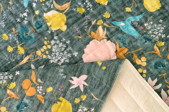 Japanese Fabric Nani Iro Fuccra : rakuen AW quilted double gauze - C - 50cm