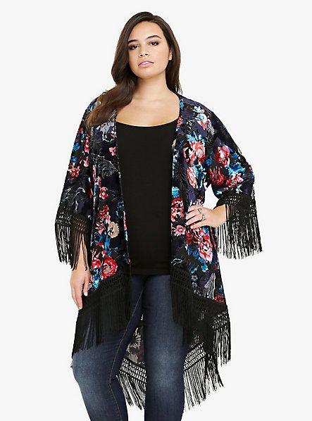 Velvet Floral Open Front Fringe Kimono Torrid Looks