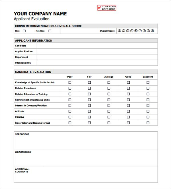 evaluation form for job candidate  Job Applicant Evaluation Form | Evaluation form, How to ...