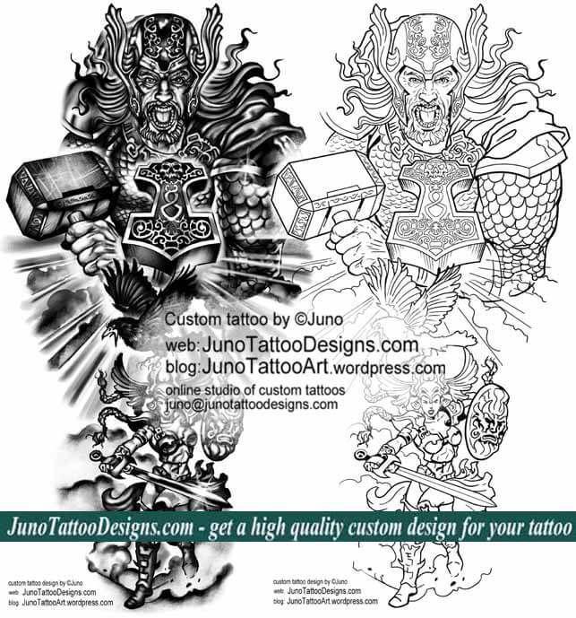 Epic Tattoos Norse Mythology Tattoo Arm Tattoo Template Thor