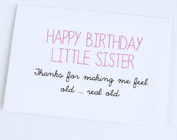 Little Sister Birthday Card Funny Birthday Card Joke Card – Funny Birthday Cards Pinterest
