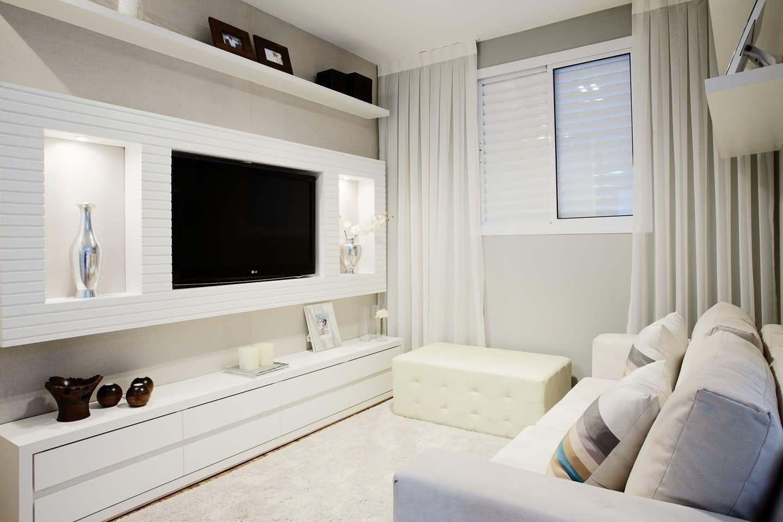 65 Salas De Tv Pequenas Decoradas Para Voc Se Inspirar Artesanato  -> Sala Simples Decorada
