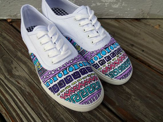 9d4b663541 Tribal Pattern Vans by UrbanRags on Etsy