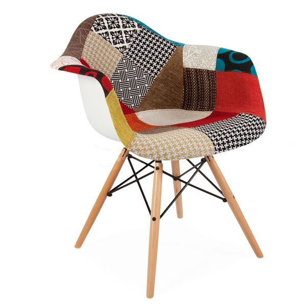 mid century modern eames style daw patchwork fabric upholstered armchair with wood dowel base - Chaise Patchwork Eames