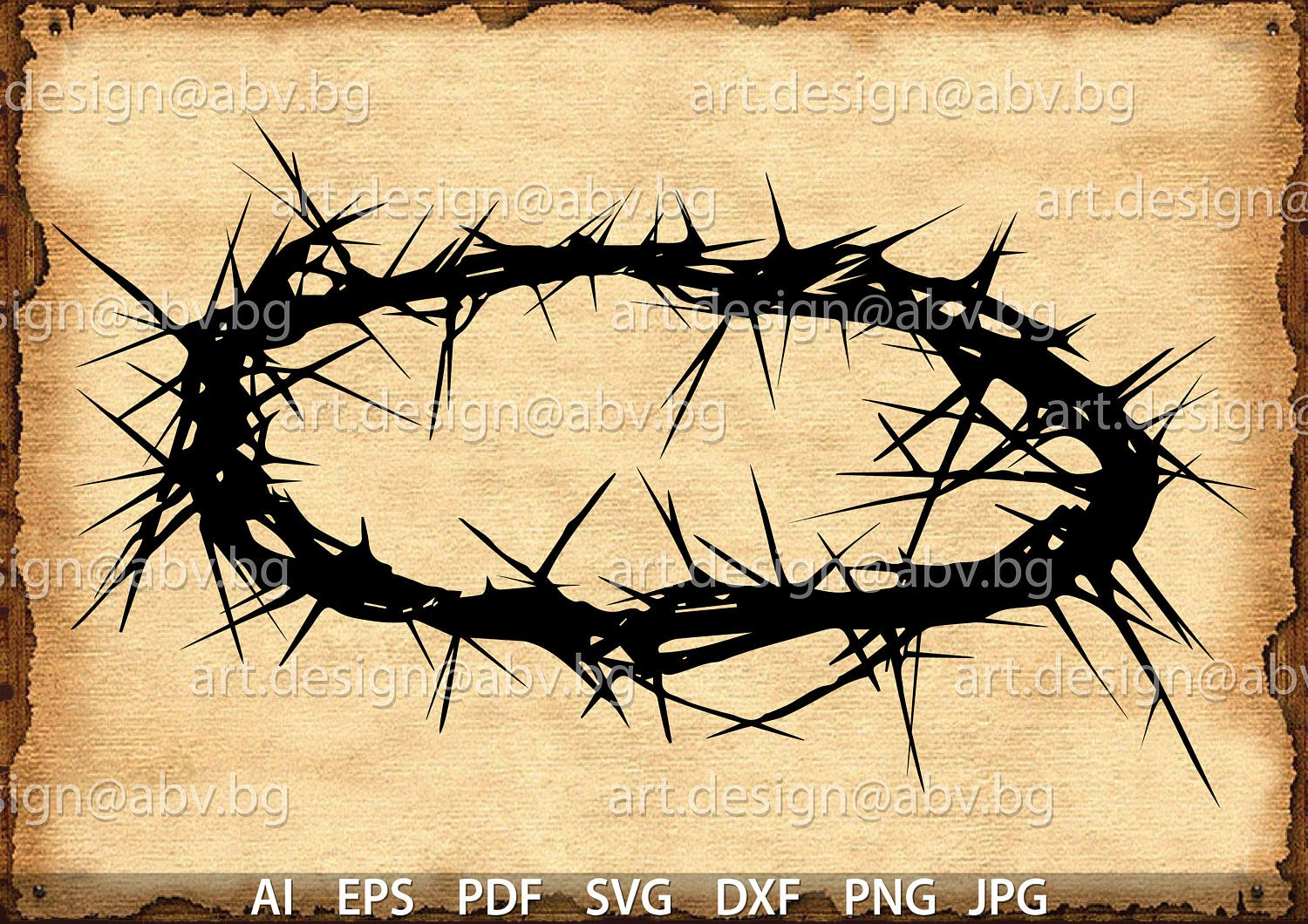 Vector Crown Of Thorns Ai Eps Pdf Svg Dxf Png Jpg Etsy Crown Of Thorns Vector Thorns