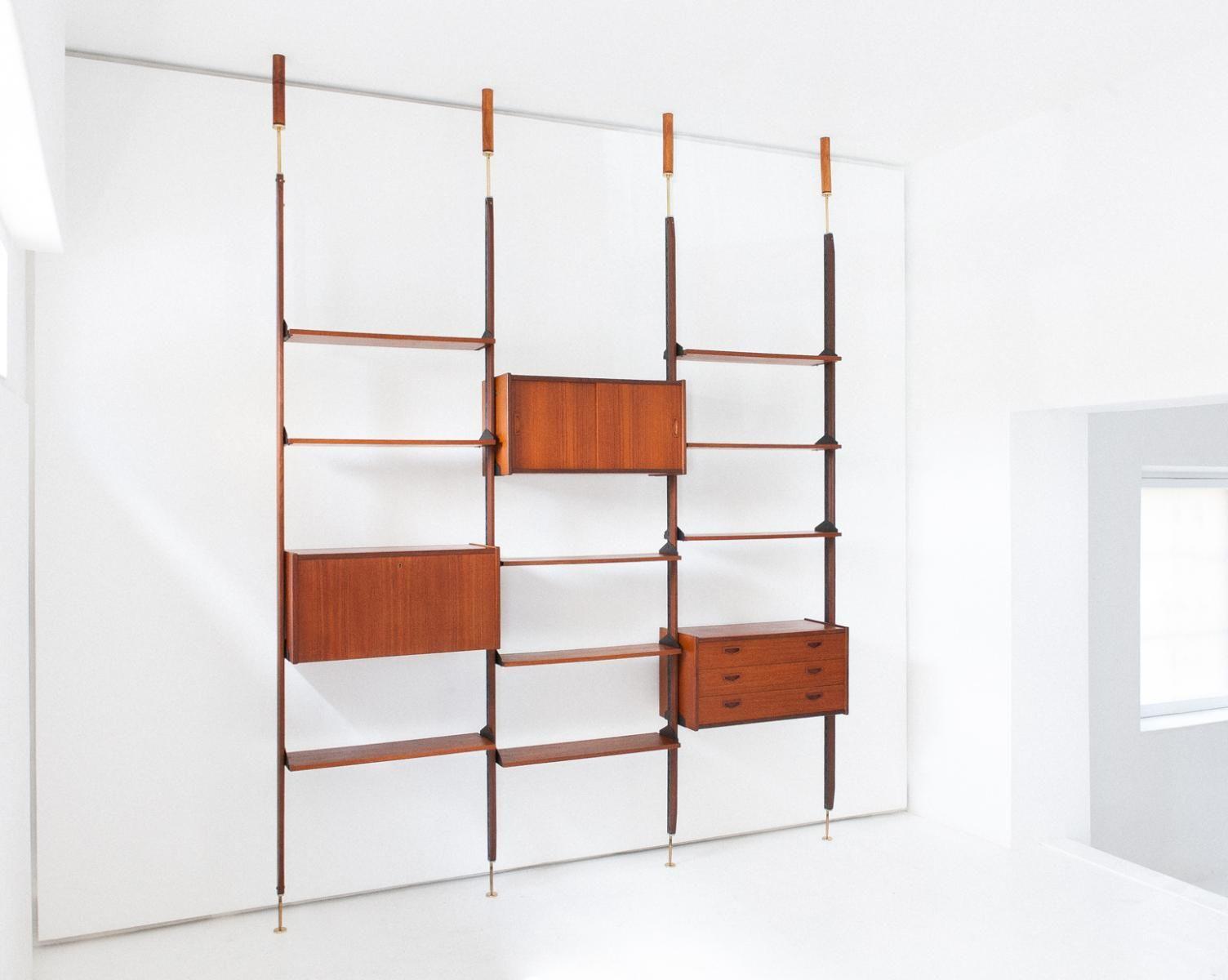 Italian Teak and Brass Floor to Ceiling Wall Unit or Bookshelf