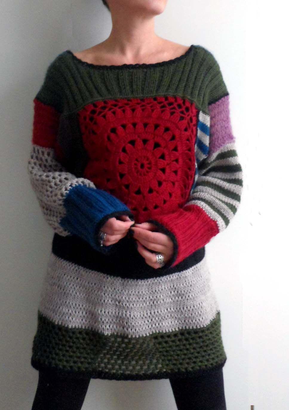 A cool sweater remake, probably with parts of old sweaters plus new crochet: https://lh6.googleusercontent.com/-6H00If08Ep0/TXsU84nvAaI/AAAAAAAACiQ/pT6-zJ56Grw/s1600/j%25C3%25A4m%25C3%25A4langat+020.jpg