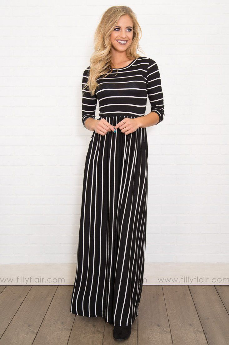 498d4c67d6 Check my Stripes Black White Striped Long Sleeve Maxi Dress | Style ...