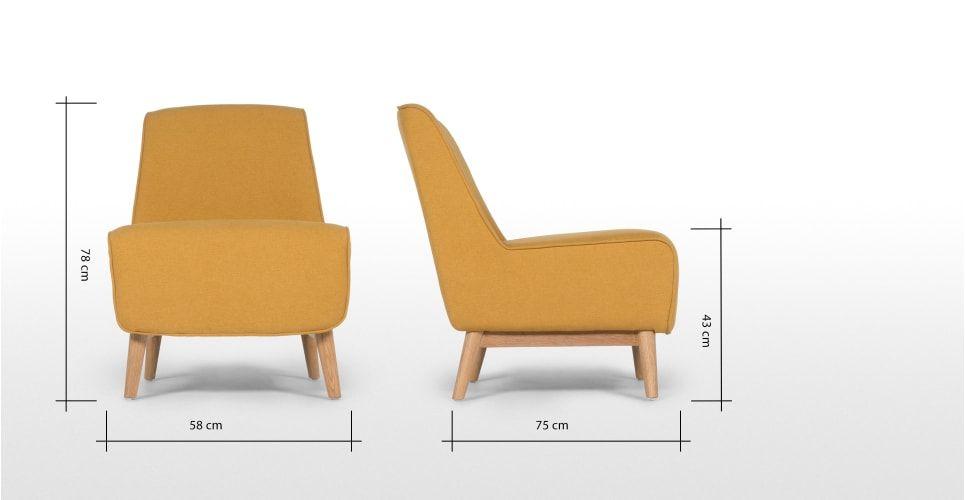 Leo, fauteuil d'appoint, jaune   made.com