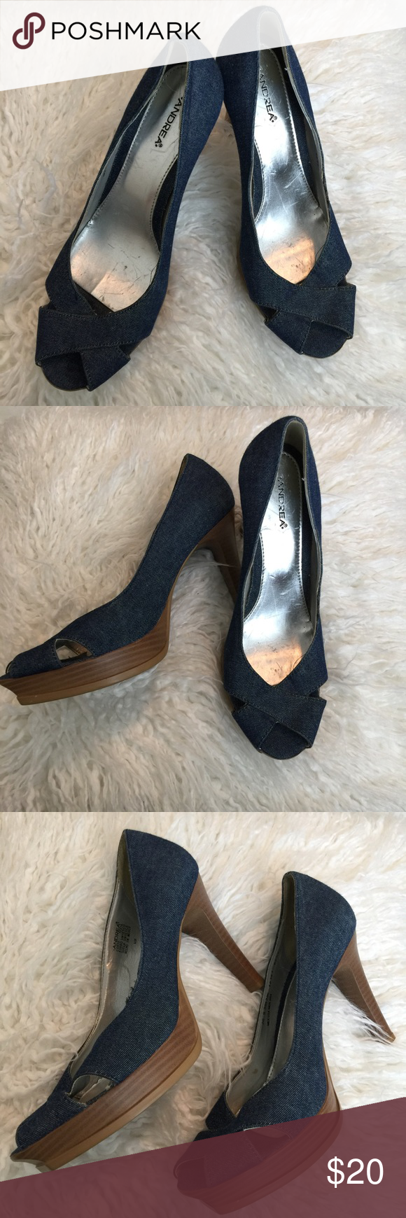 "Andrea Blue Jean Heels Size 9 Super Comfy!! Size 9 Andrea Blue Jean 4"" heels Good condition Andrea  Shoes Heels"