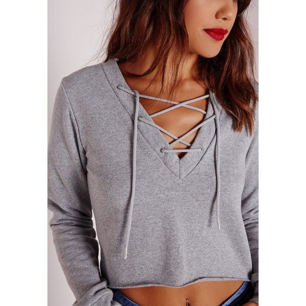 Tall Lace Up Cropped Sweater Grey (78 BRL) ❤ liked on Polyvore featuring tops, plunge crop top, lace up crop top, laced up top, long sleeve crop top and lace up front top