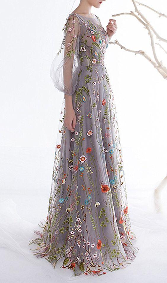 Women's Zipper Back Floral Embroidery ,Long Sleeves Evening Dresses,Custom Made,Floor Length