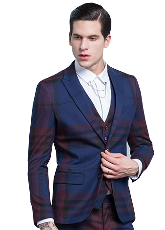 NAVY BLUE BURGUNDY MODERN PLAID MENS BLAZER Mens check blazer ...