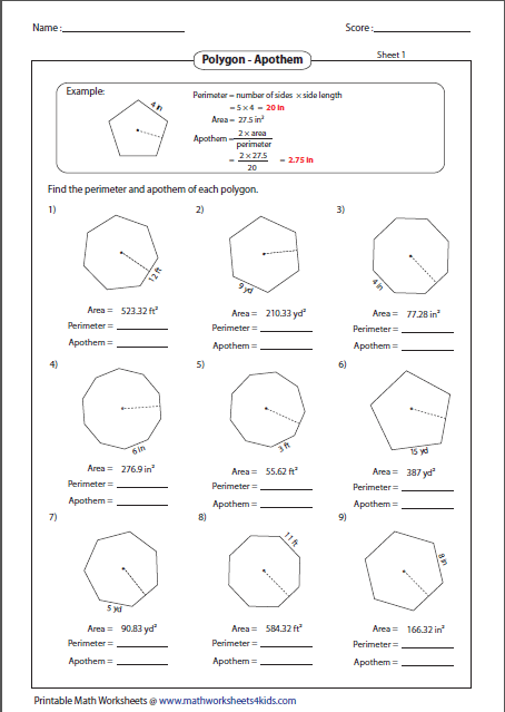 Find The Perimeter And Apothem Of Each Polygon Geometry