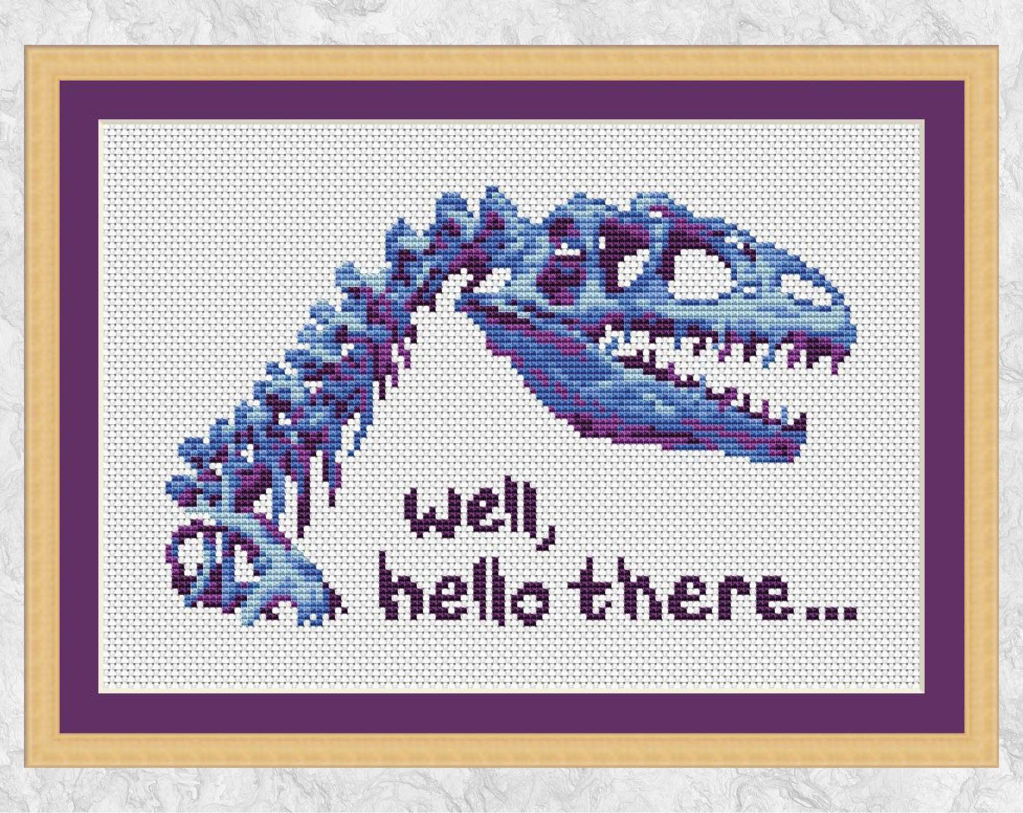 Dinosaur cross stitch pattern, fun dinosaur fossil skeleton, instant download PDF #dinosaurfossils
