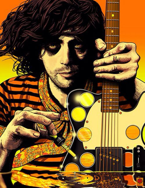 Syd Barrett portrait by Nicolás Rosenfeld. Barrett, a founding member of Pink Floyd, served as the band's lead singer, guitarist, and writer during its early years. Due to increasingly erratic behavior and mental instability, he left the band in 1968 and never returned. His experimental, psychedelic musical style influenced other musicians, including Jimmy Page and David Bowie