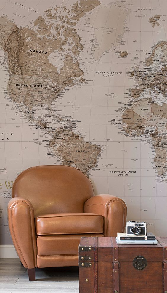 World Bedroom Furniture: Earth Tone World Map Mural Wallpaper