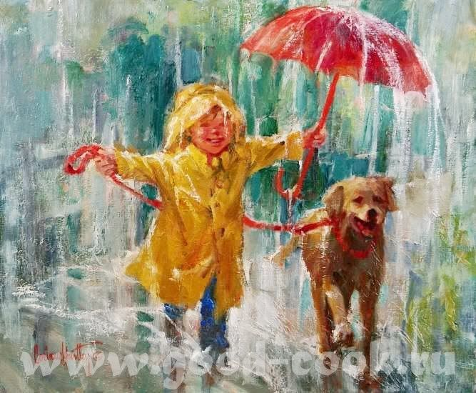 by Corinne Hartley a bog & his dog, red umbrella, yellow slicker