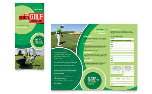 Golf Tournament - Tri Fold Brochure Template Design Sample - microsoft tri fold brochure template free