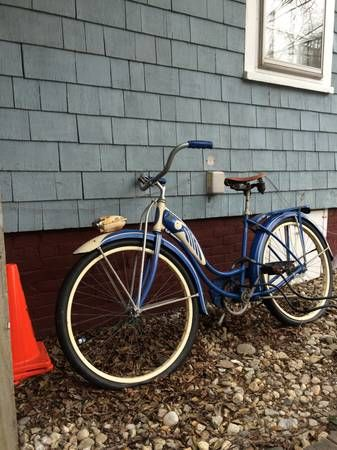 I am sadly parting with my ridiculously gorgeous blue and white Schwinn Hornet. It is a 1956 beauty. It has a tiny bit of surface rust from this winter, mostly on the horn. Otherwise, the paint is...
