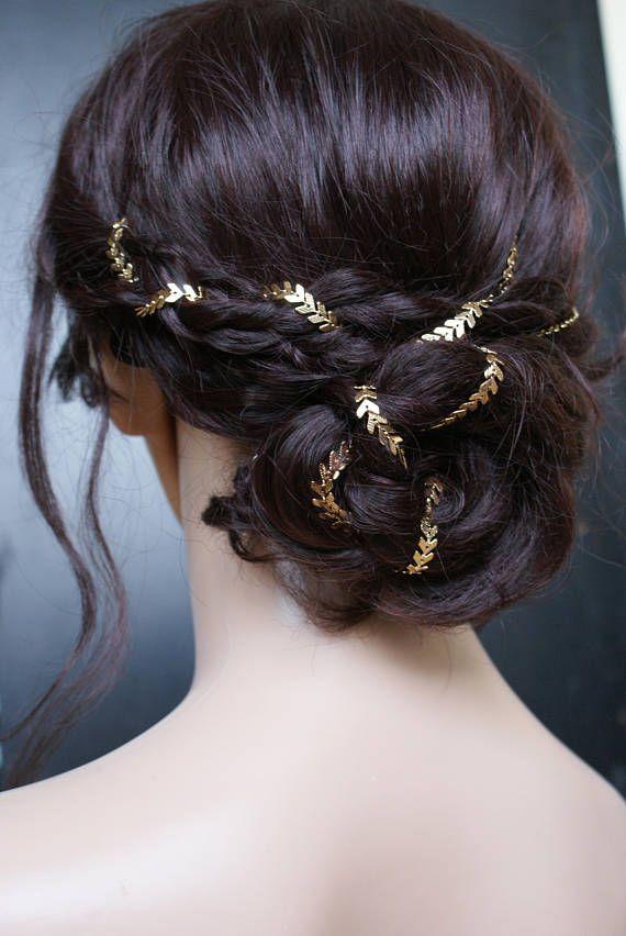 Long Hair Braided Bun with Woven Gold Threads.  Wedding Hair Inspiration. 1