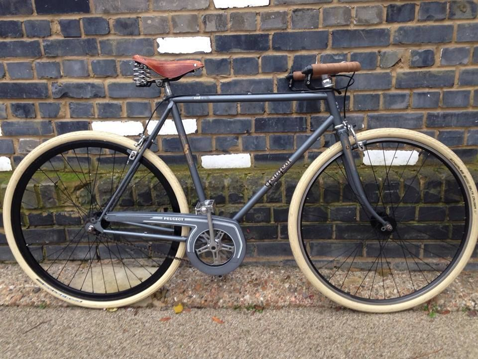 peugeot cafe racer vintage single speed bike size 57cm grey with brooks saddle ebay