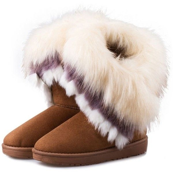 c807f034fd336 Warm Multi-color Faux Fur Winter Short Snow Boot ($22) ❤ liked on ...