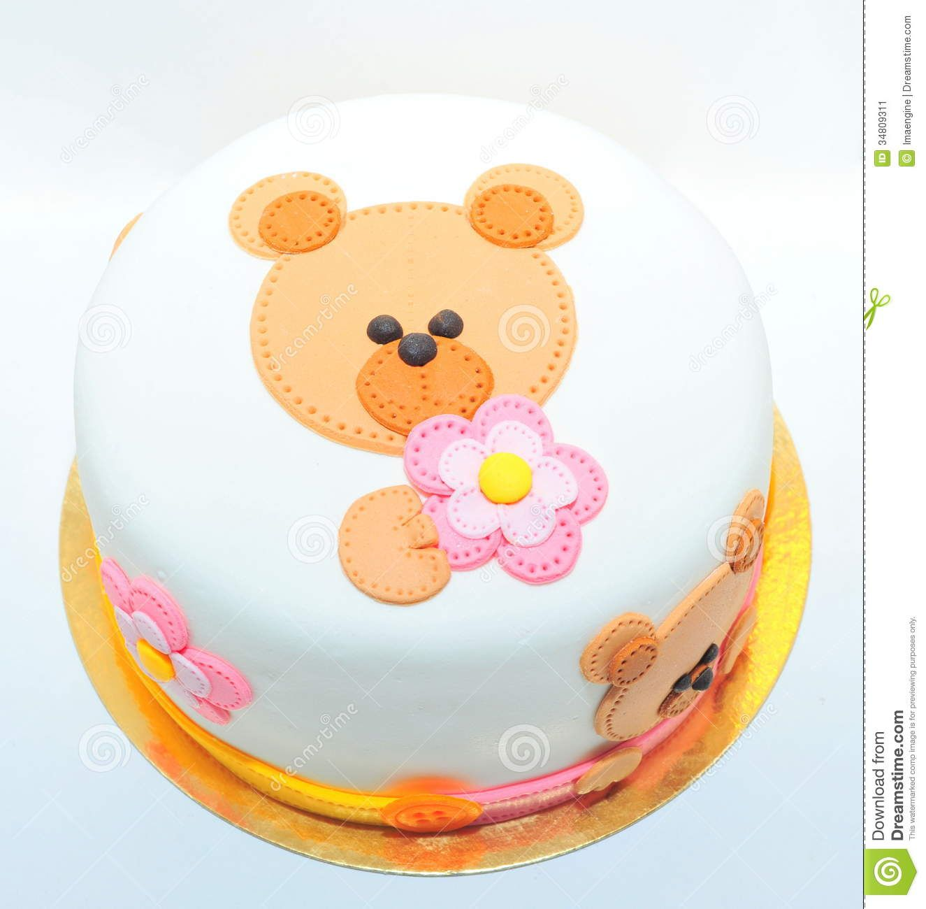 Girls Birthday Cake With A Fondant Teddy Bear Download From Over - Bear birthday cake