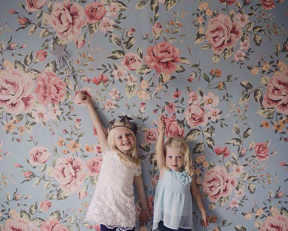 cutesie floral mural flower pattern wallpaper for home pinterest papier peint fleuri le. Black Bedroom Furniture Sets. Home Design Ideas