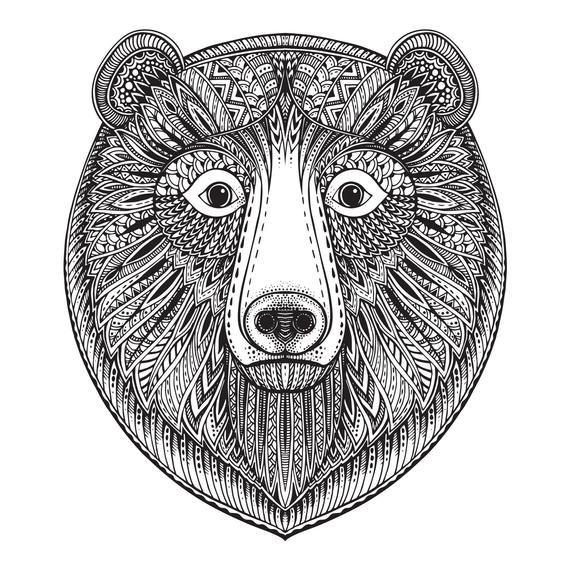 Zentangle Bear svg Mandala vector, digital clipart, t-shirt