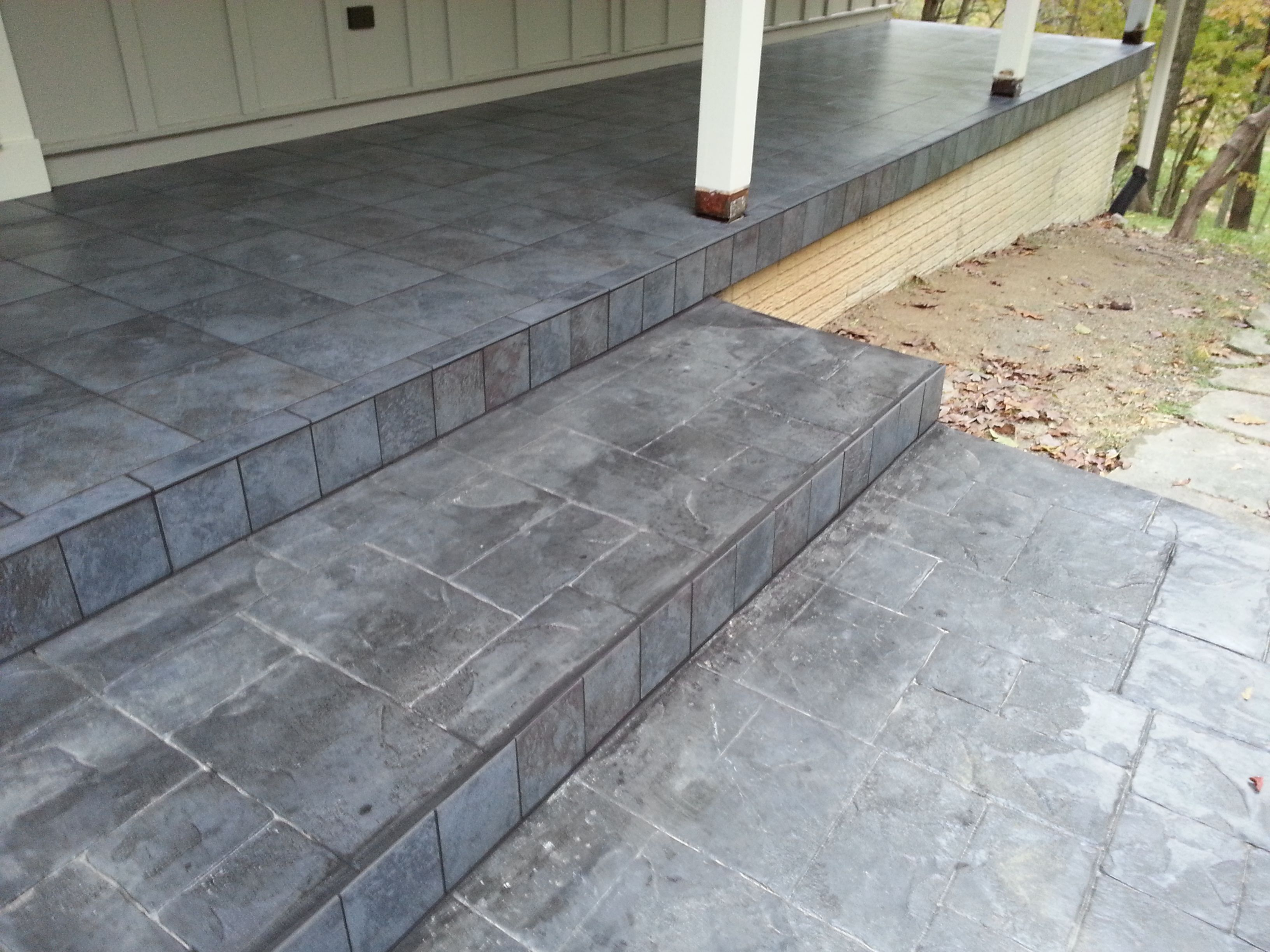 Porcelain Tile Installed On An Out Door Patio House Exterior