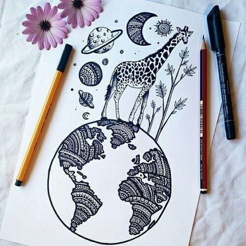 Cool giraffe planet drawing art pinterest planet for Cool drawing stuff
