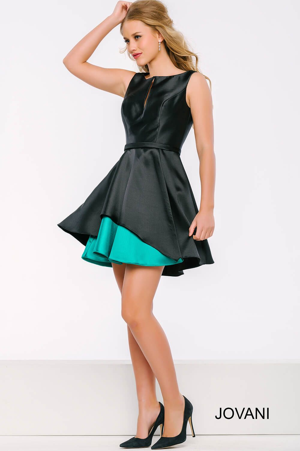 The turquoise in this #jovani 41260 satin dress is the perfect pop ...