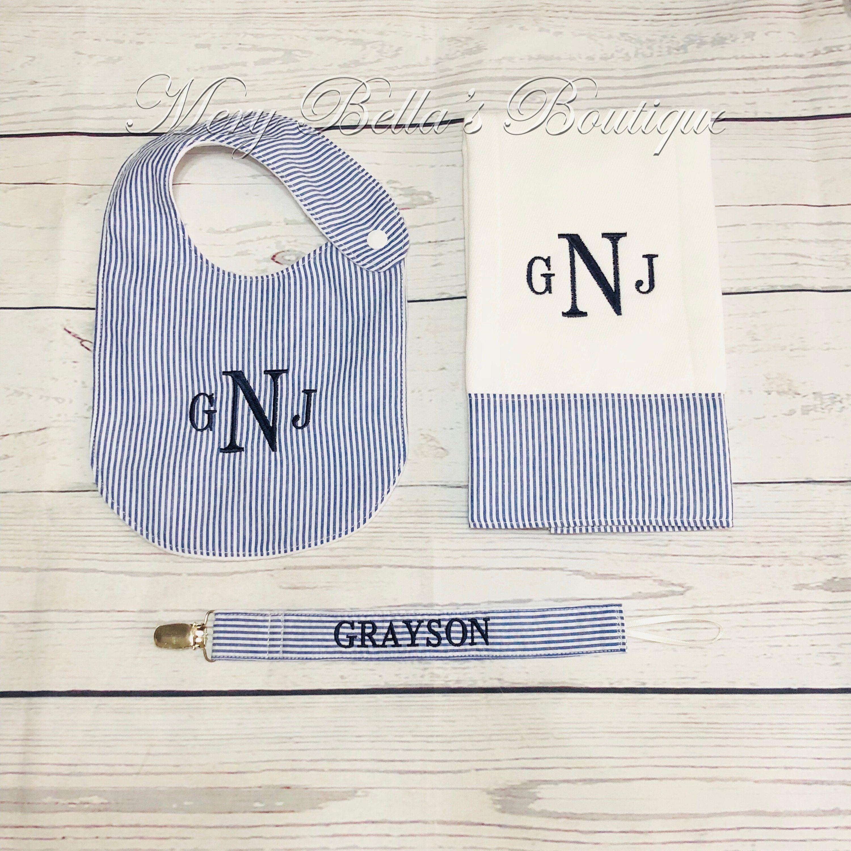 Personalized Seersucker baby set,bib,burp cloth,pacifier ...