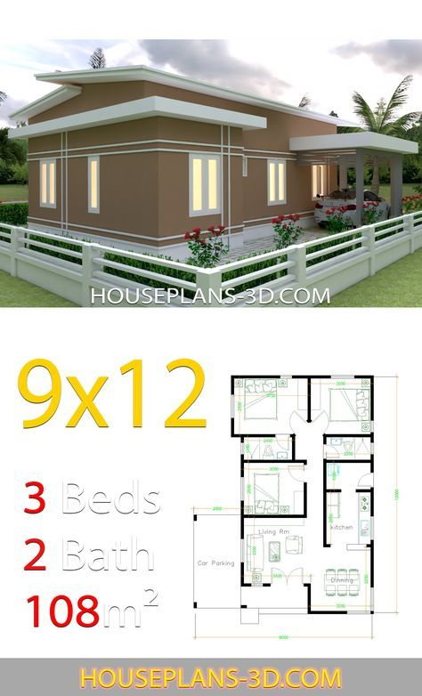 House Design 9x12 With 3 Bedrooms Slop Roof House Plans 3d House Plans Small House Design Plans House Roof