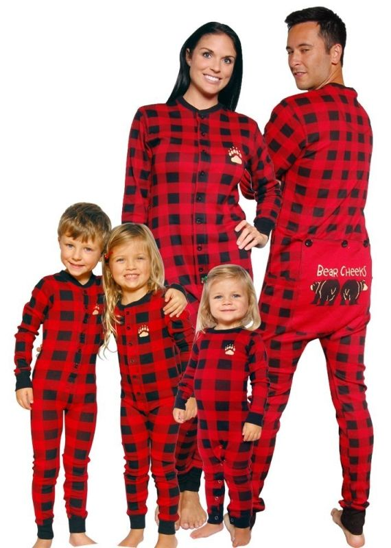 0681e7d358 Bear Cheeks Lazy One Adult Red Black Plaid Flapjack Family Matching Pajamas