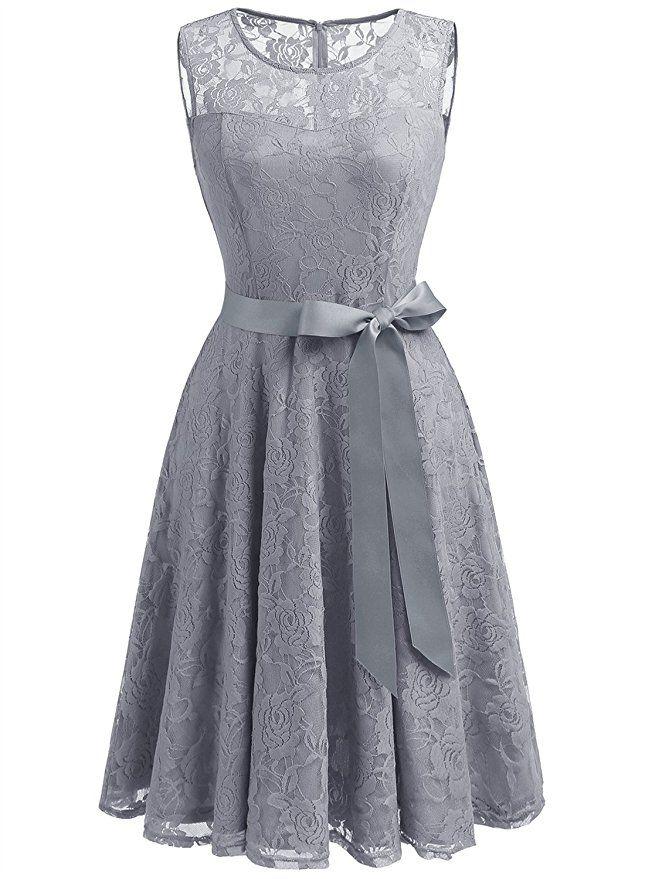 Dressystar DS0009 AbendKleid Ärmellos Kurz Brautjungfern Kleid Spitzen  Rundhals Damen Kleider Grau XS
