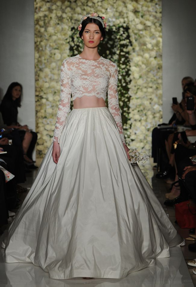 Lace Crop Top Wedding Dress | Reem Acra Wedding Dresses Fall 2015 | Maria Valentino/MCV Photo | Blog.theknot.com