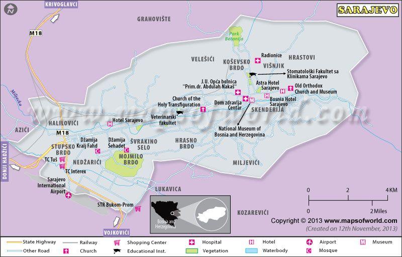 Sarajevo map (capital of Bosnia and Herzegovina) shows major ... on istanbul map, gibraltar on map, budapest map, bosnia map, belgrade map, vienna map, bosnia and herzegovina, dublin map, serbia map, kosovo map, constantinople map, zagreb map, croatia map, balkans map, minsk map, gavrilo princip, siege of sarajevo, kiev map, yugoslavia map, skopje map, the hague map, tirana map, riga map, bosnian war,