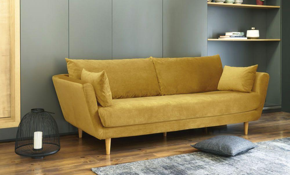 3 Sitzer Sofa Mit Samtbezug Senfgelb 3 Sitzer Sofa Couch Mit Schlaffunktion Und Senfgelb