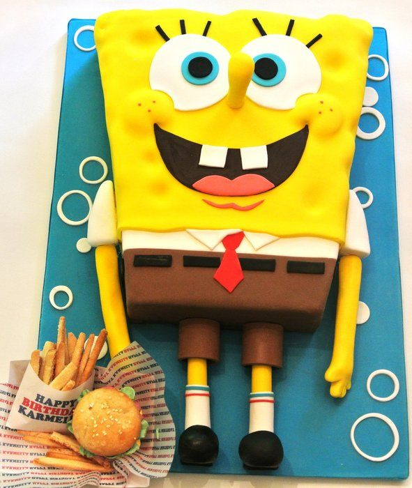 Wondrous Spongebob Krabby Patties And French Fries With Images Personalised Birthday Cards Bromeletsinfo